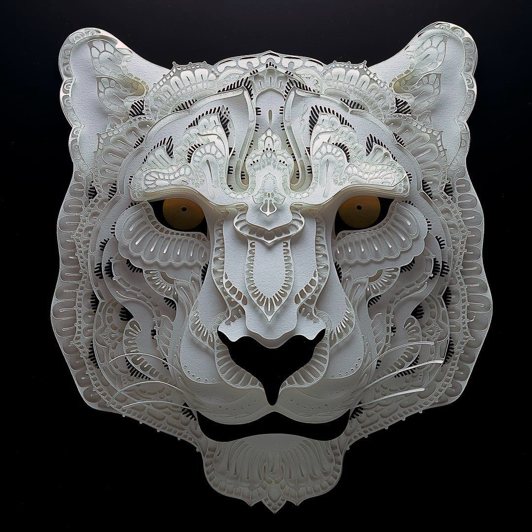 Patrick Cabral Endangered Species Series In Cut Paper - Snow Leopard
