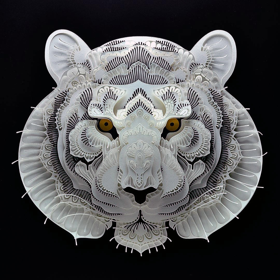 Patrick Cabral Endangered Species Series In Cut Paper - Tiger