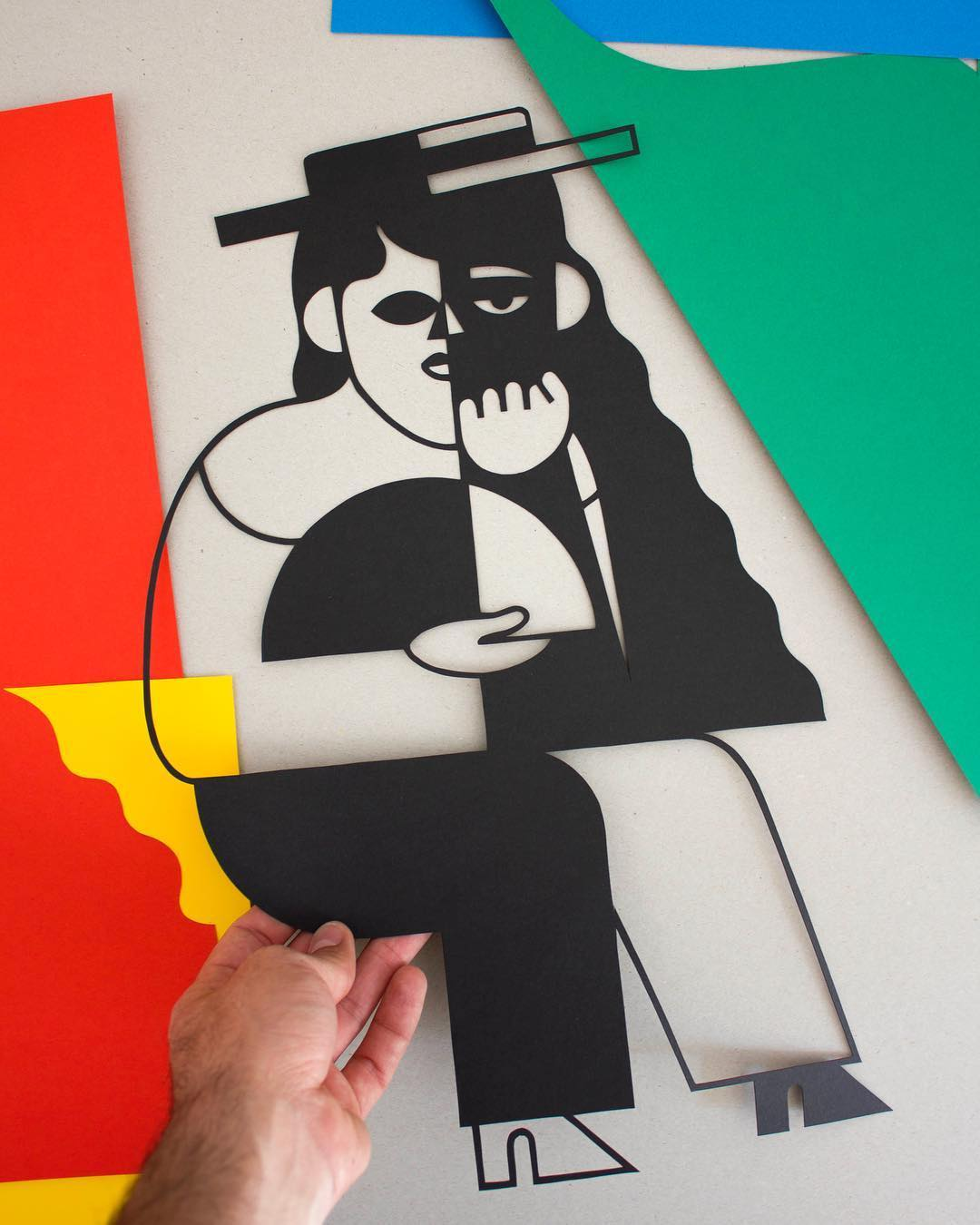 Cubist-Inspired Paper Cutouts Are Effortlessly Cut From a Single Sheet of Paper by Jose Antonio Roda