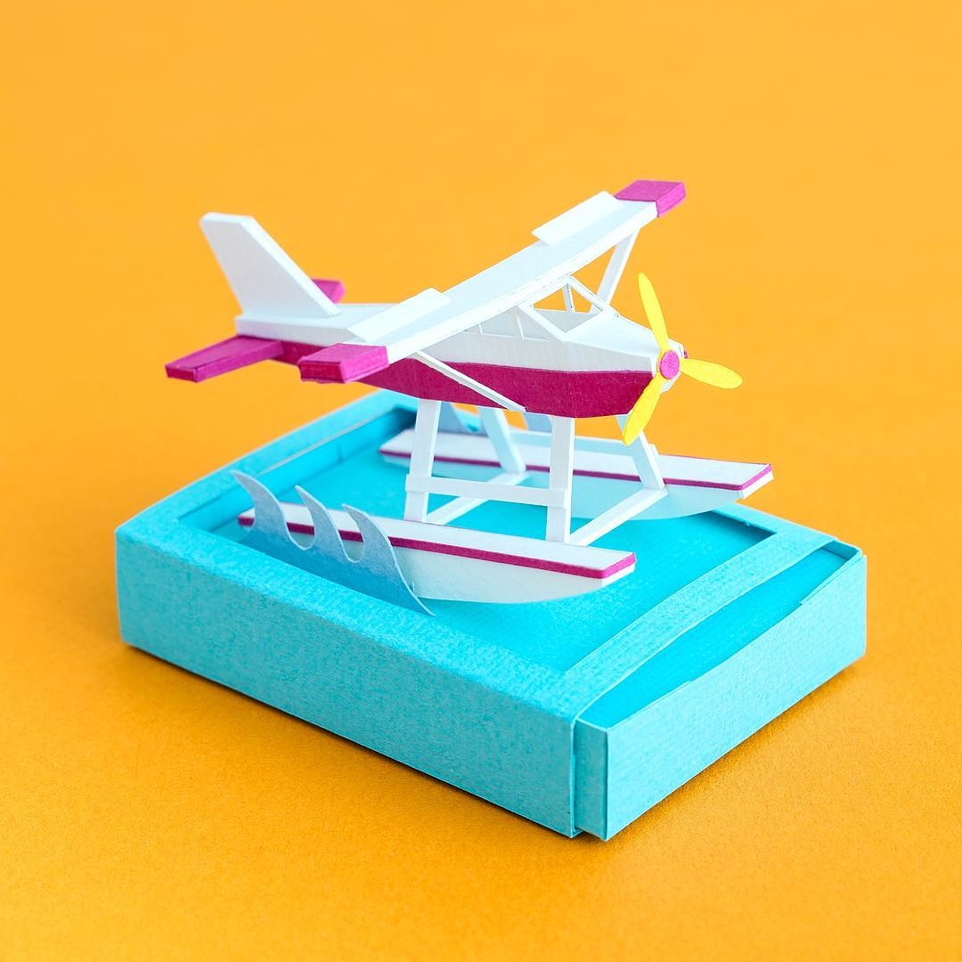 Technicolor Miniatures of Everyday Life Handcrafted in Paper - Sea Plane