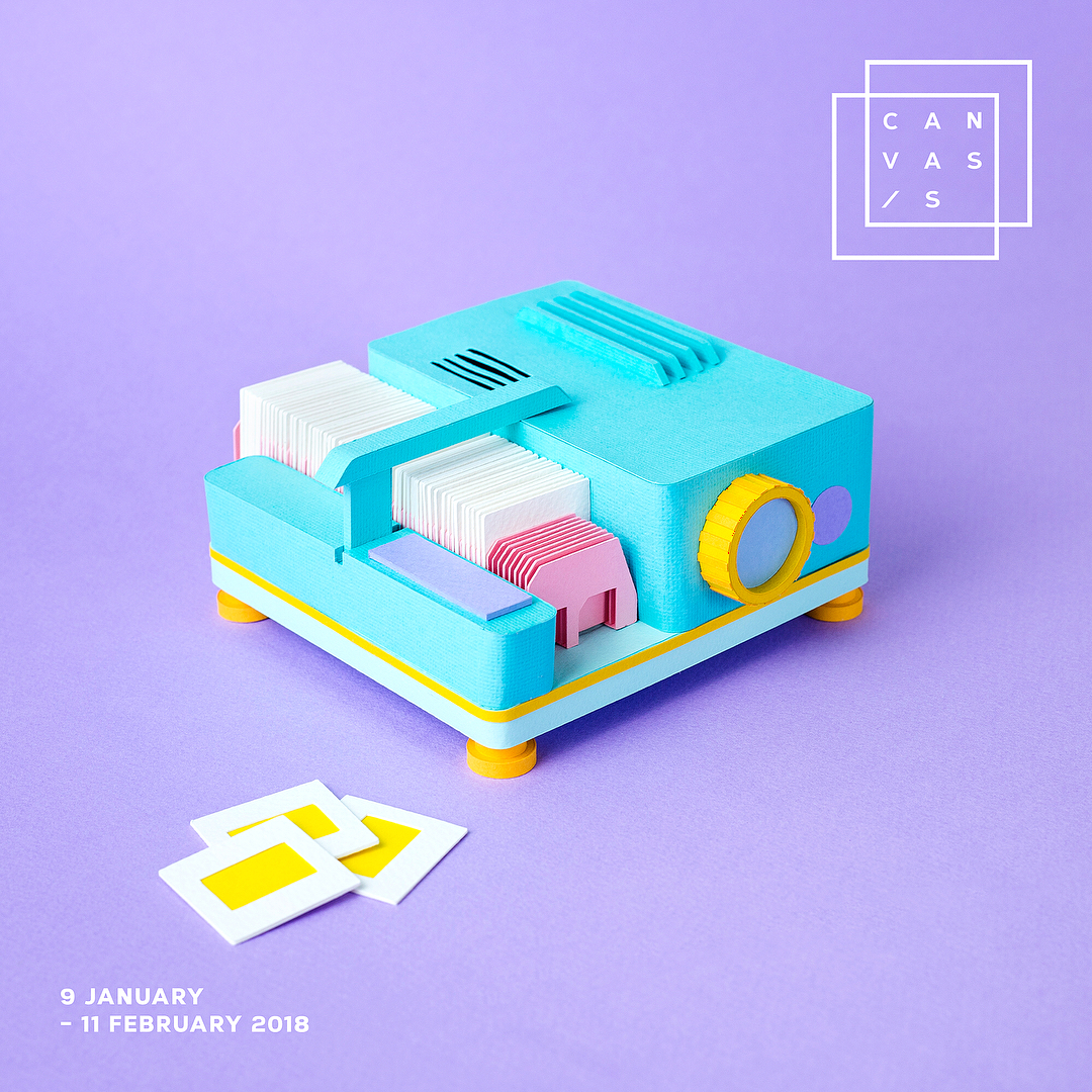Technicolor Miniatures of Everyday Life Handcrafted in Paper - Projector