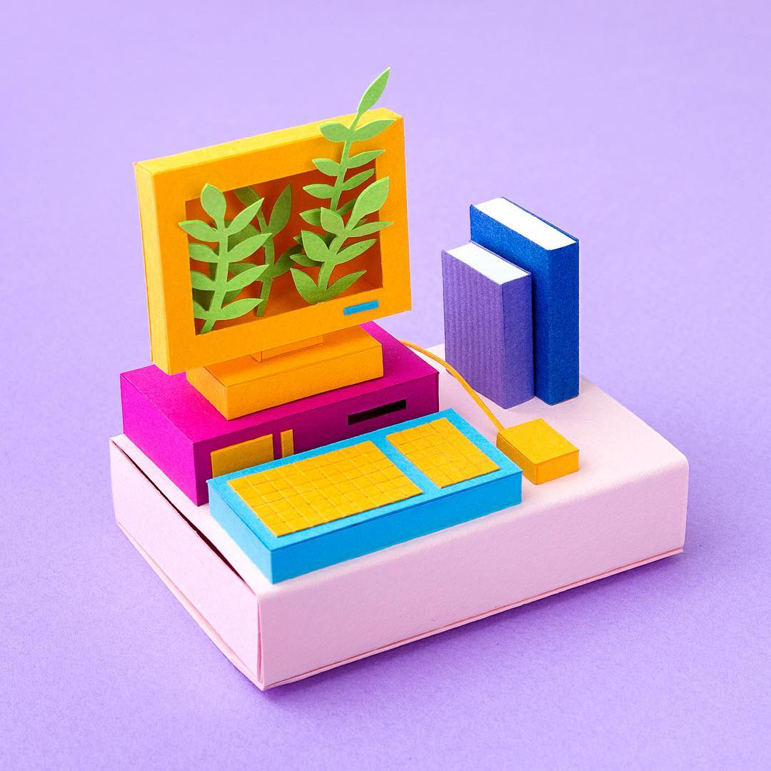 Technicolor Miniatures of Everyday Life Handcrafted in Paper - Computer