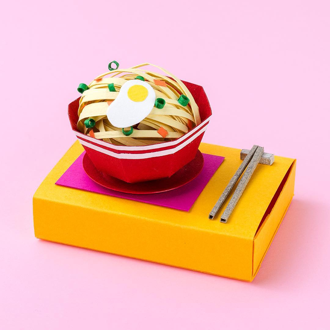 Technicolor Miniatures of Everyday Life Handcrafted in Paper - Noodles