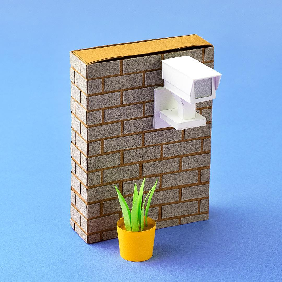 Technicolor Miniatures of Everyday Life Handcrafted in Paper - Security