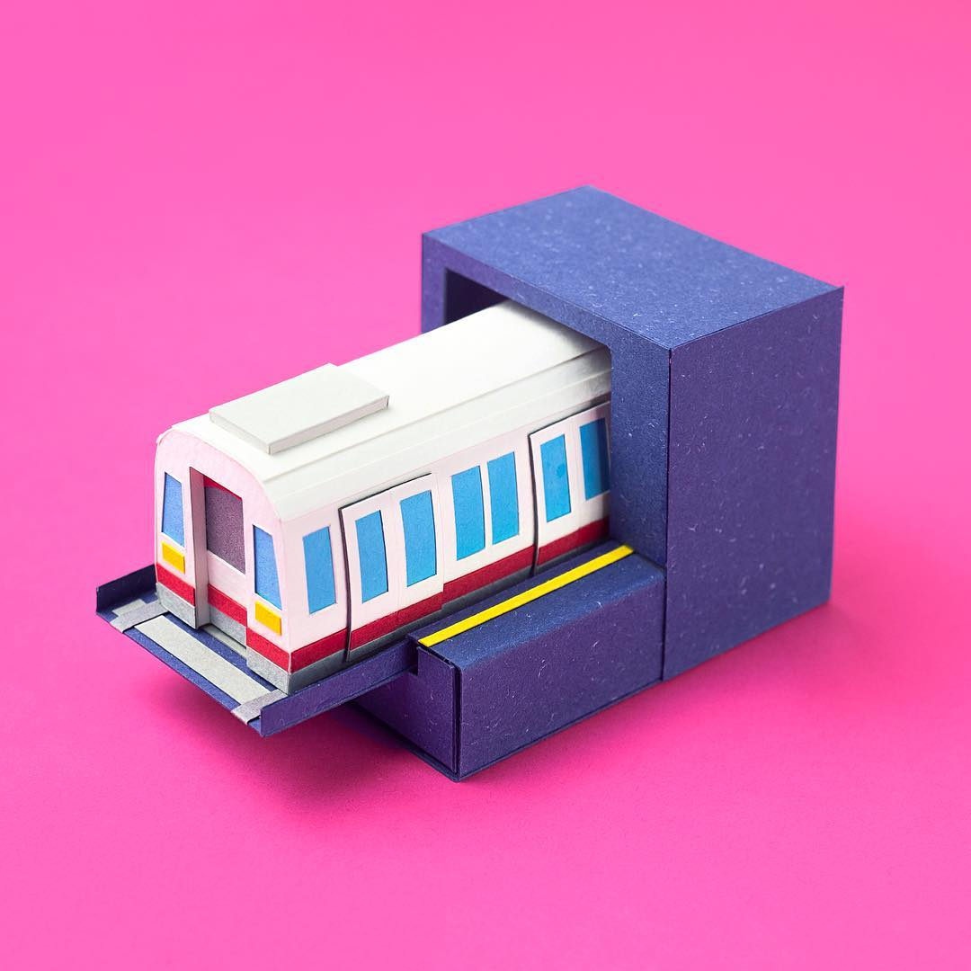 Technicolor Miniatures of Everyday Life Handcrafted in Paper - Metro