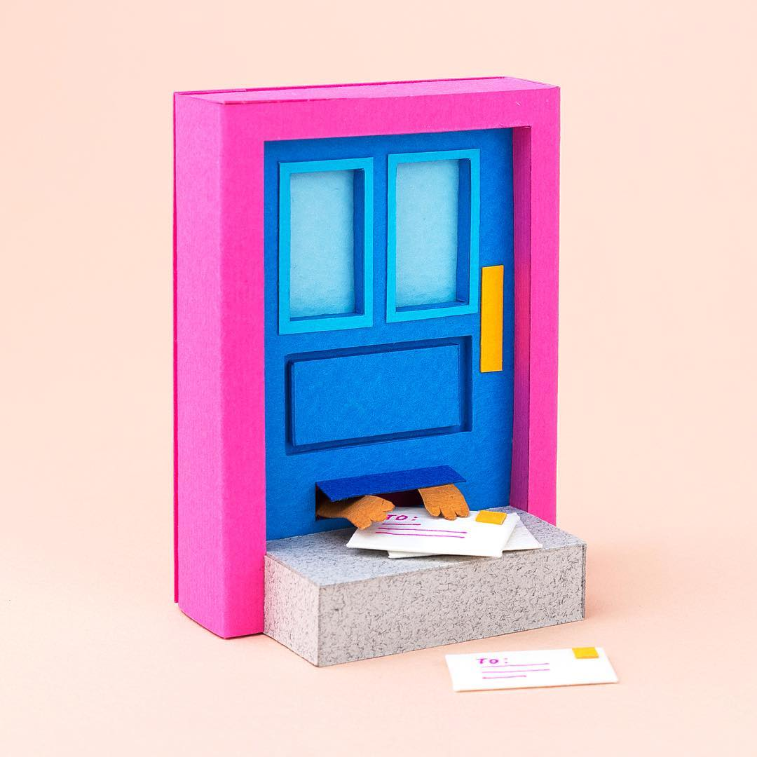 Technicolor Miniatures of Everyday Life Handcrafted in Paper - Mail