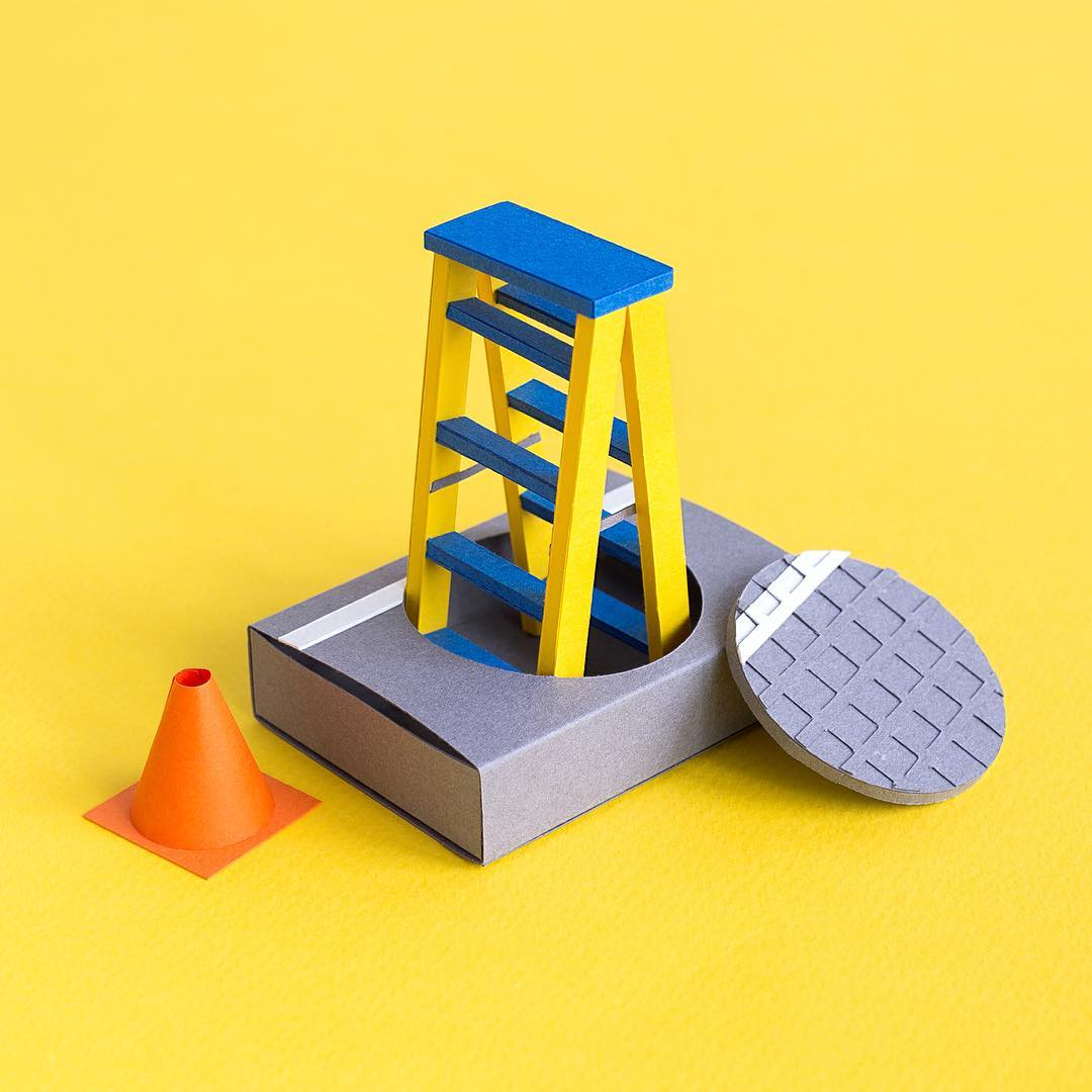 Technicolor Miniatures of Everyday Life Handcrafted in Paper - Manhole