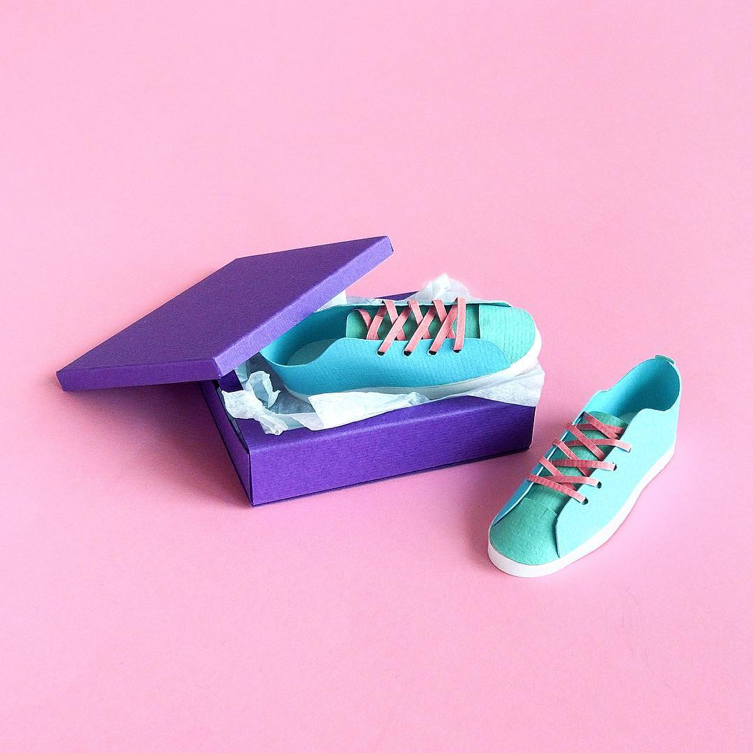 Technicolor Miniatures of Everyday Life Handcrafted in Paper - Sneakers