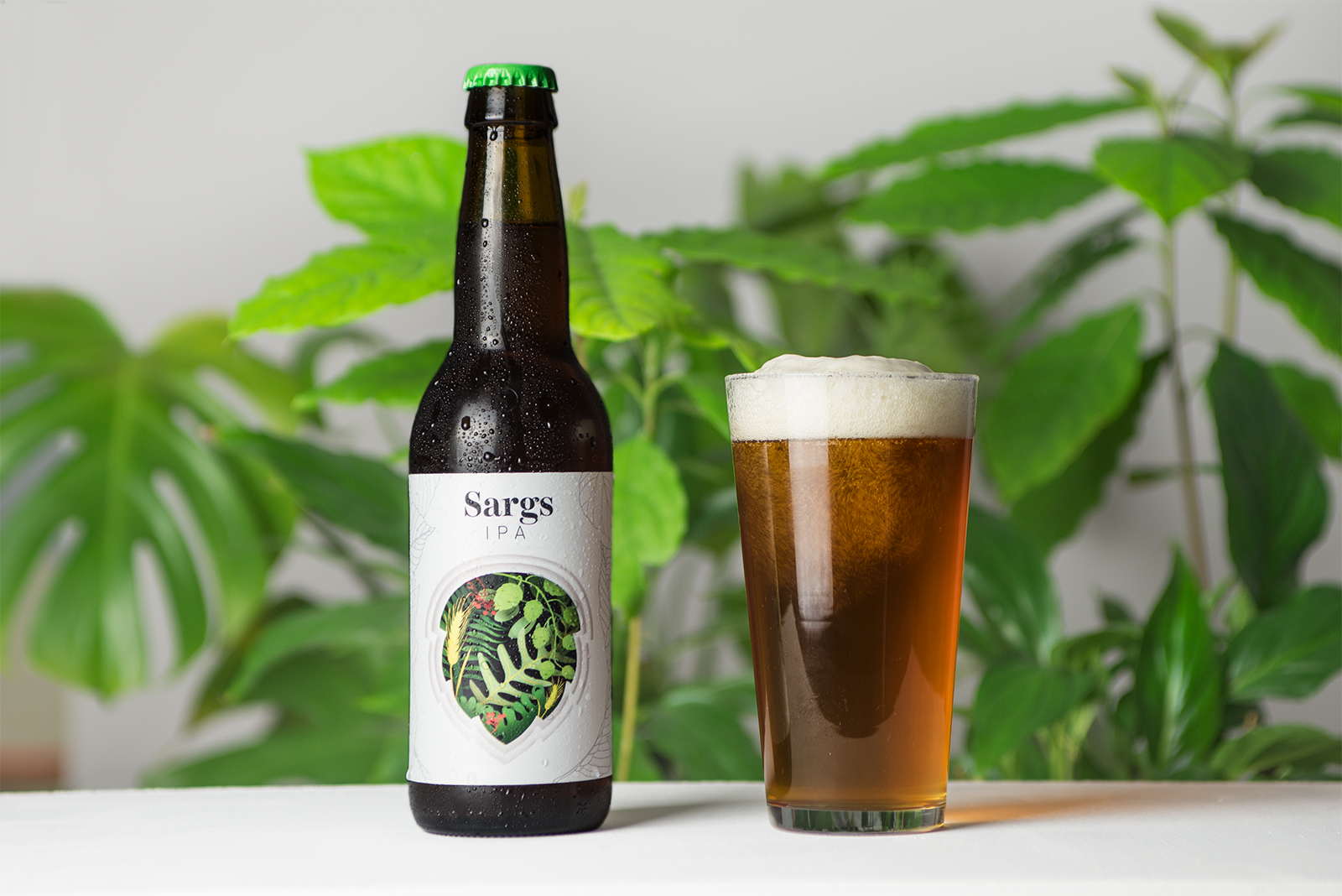 Vibrant Botanical Cut Paper Illustrations Handcrafted for Sargs IPA Beer